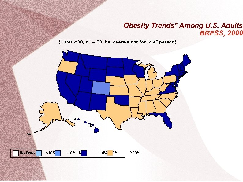 Obesity Trends* Among U. S. Adults BRFSS, 2000 (*BMI ≥ 30, or ~ 30