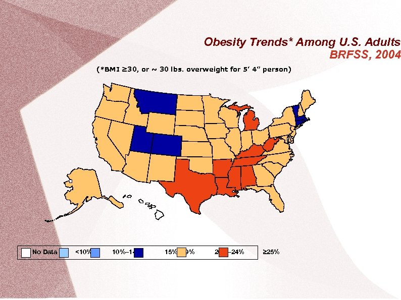 Obesity Trends* Among U. S. Adults BRFSS, 2004 (*BMI ≥ 30, or ~ 30