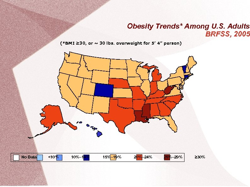 Obesity Trends* Among U. S. Adults BRFSS, 2005 (*BMI ≥ 30, or ~ 30