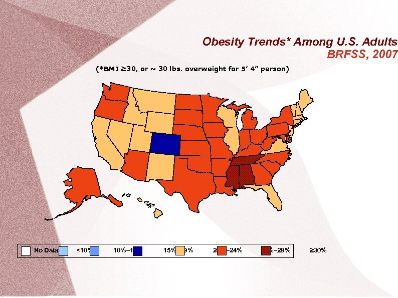 Obesity Trends* Among U. S. Adults BRFSS, 2007 (*BMI ≥ 30, or ~ 30