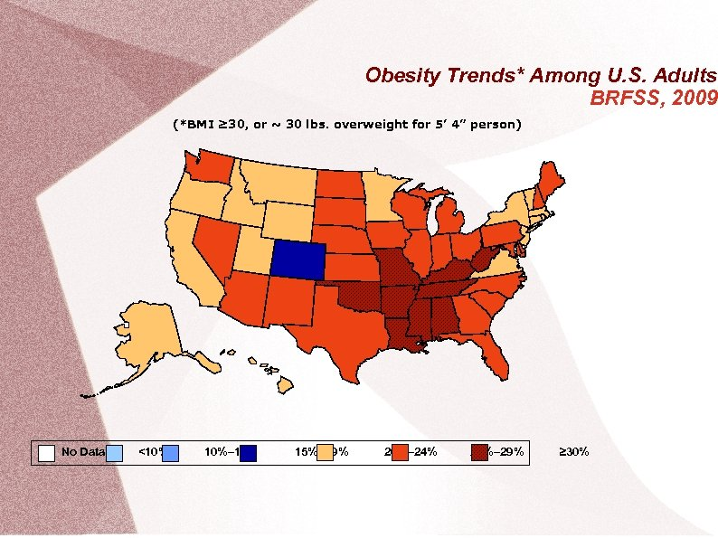 Obesity Trends* Among U. S. Adults BRFSS, 2009 (*BMI ≥ 30, or ~ 30