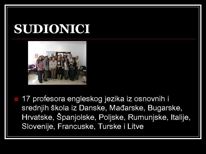 SUDIONICI n 17 profesora engleskog jezika iz osnovnih i srednjih škola iz Danske, Mađarske,