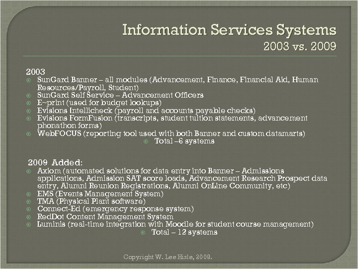 Information Services Systems 2003 vs. 2009 2003 Sun. Gard Banner – all modules (Advancement,