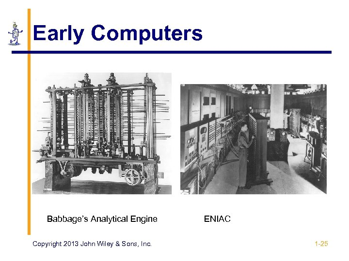 Early Computers Babbage's Analytical Engine Copyright 2013 John Wiley & Sons, Inc. ENIAC 1