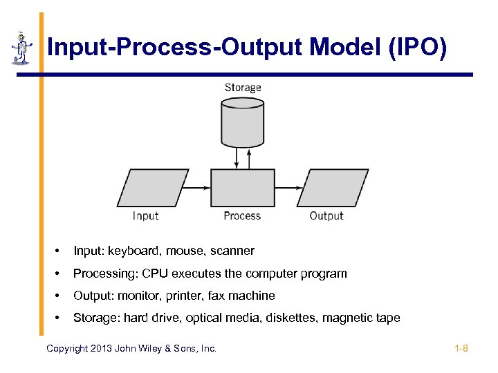 Input-Process-Output Model (IPO) • Input: keyboard, mouse, scanner • Processing: CPU executes the computer