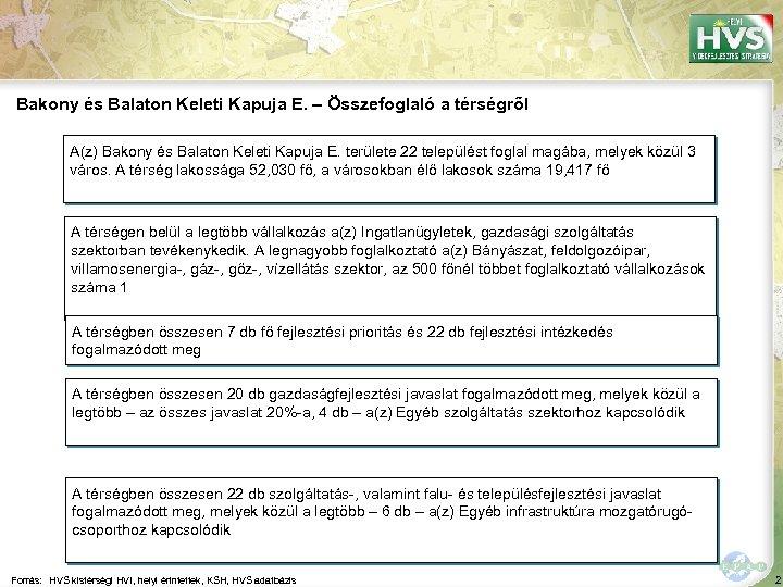 Bakony és Balaton Keleti Kapuja E. – Összefoglaló a térségről A(z) Bakony és Balaton