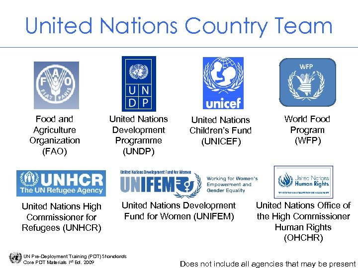 United Nations Country Team Food and Agriculture Organization (FAO) United Nations High Commissioner for