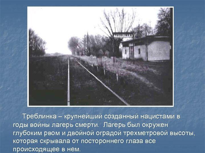 Треблинка – крупнейший созданный нацистами в годы войны лагерь смерти. Лагерь был окружен