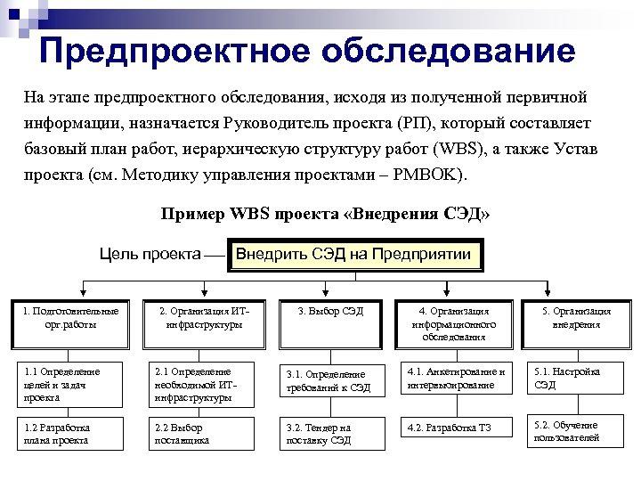 Предпроектное обследование На этапе предпроектного обследования, исходя из полученной первичной информации, назначается Руководитель проекта