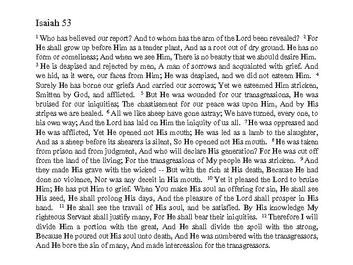 Isaiah 53 1 Who has believed our report? And to whom has the arm