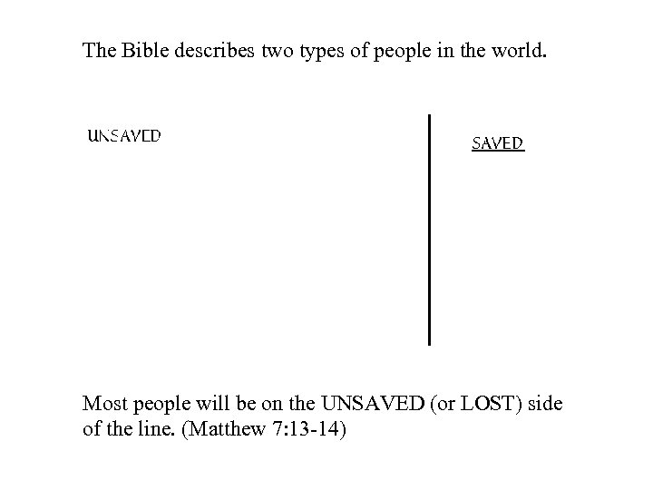 The Bible describes two types of people in the world. Most people will be