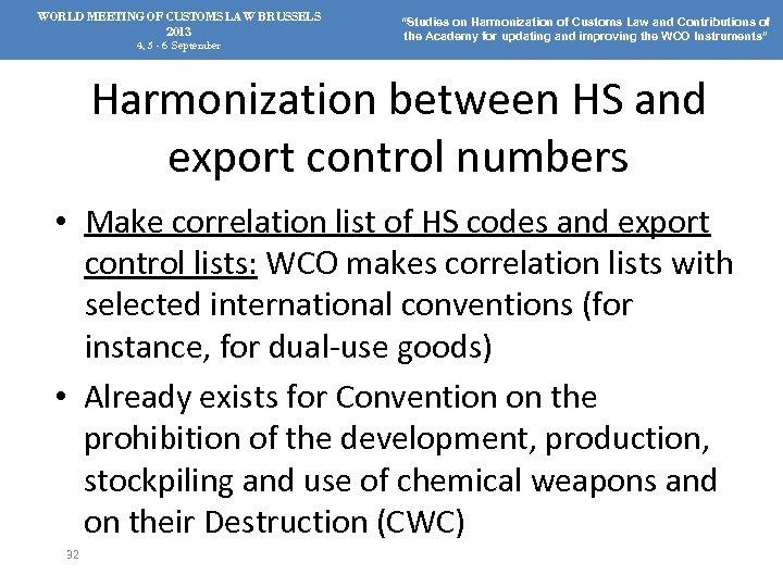 "WORLD MEETING OF CUSTOMS LAW BRUSSELS 2013 4, 5 - 6 September ""Studies on"