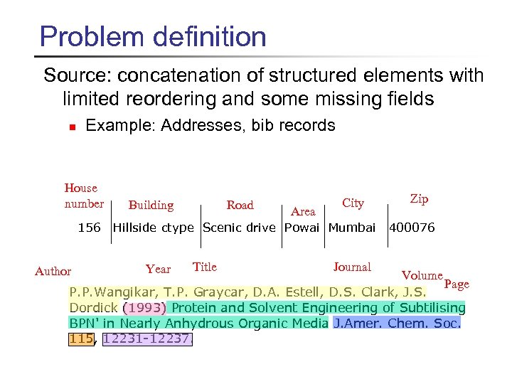 Problem definition Source: concatenation of structured elements with limited reordering and some missing fields