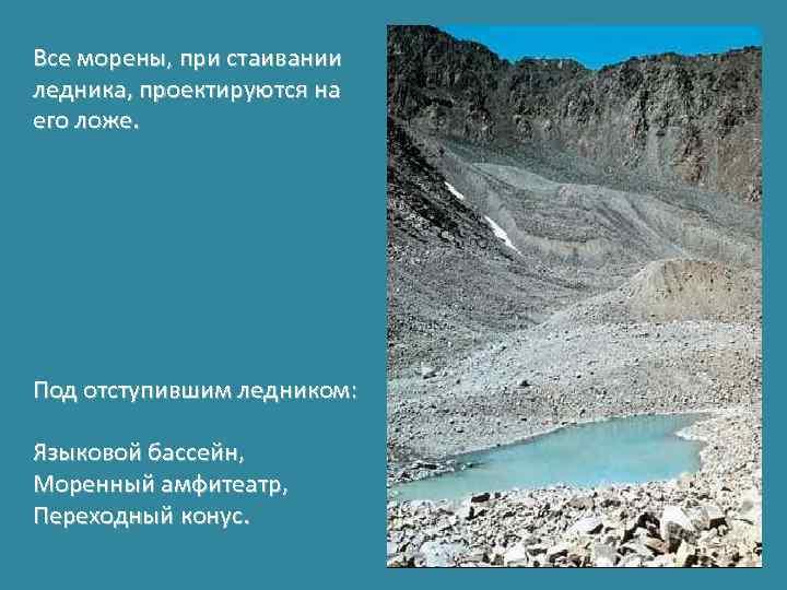 Все морены, при стаивании ледника, проектируются на его ложе. Под отступившим ледником: Языковой бассейн,