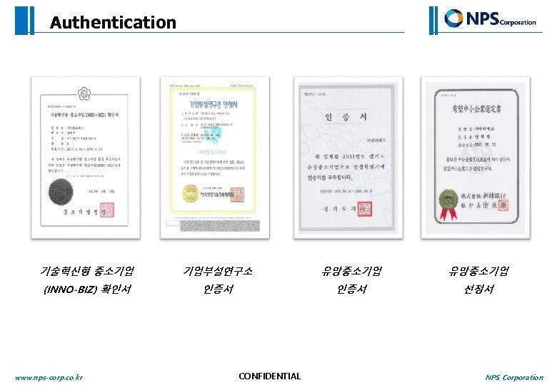 Authentication 기술혁신형 중소기업 기업부설연구소 유망중소기업 (INNO-BIZ) 확인서 인증서 선정서 www. nps-corp. co. kr CONFIDENTIAL