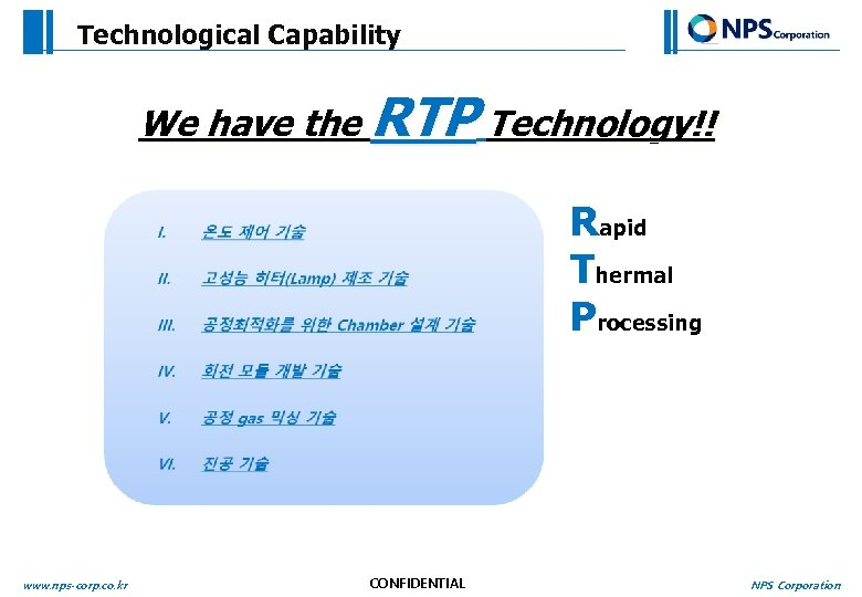 Technological Capability We have the RTP Technology!! Rapid Thermal Processing www. nps-corp. co. kr