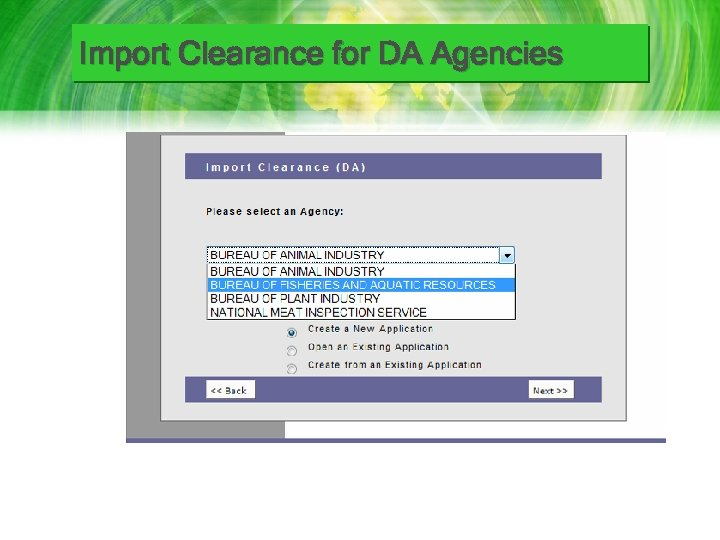 Import Clearance for DA Agencies