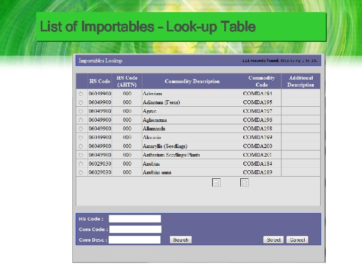 List of Importables – Look-up Table