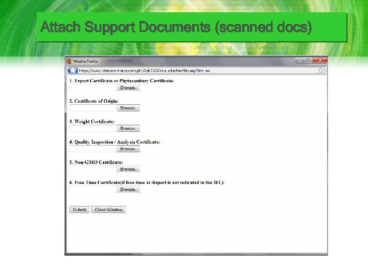 Attach Support Documents (scanned docs)