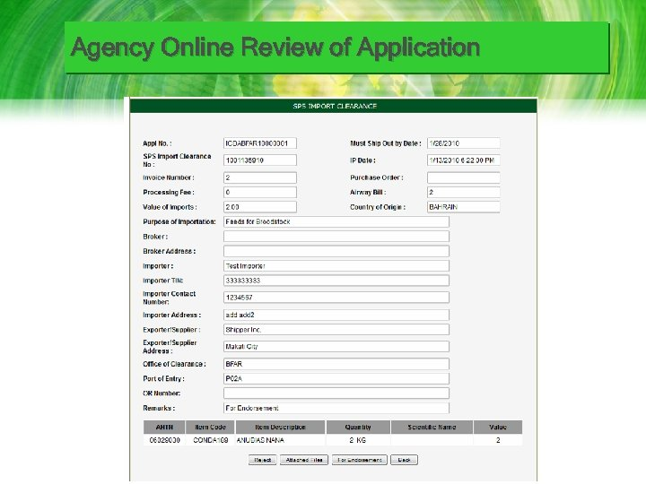 Agency Online Review of Application