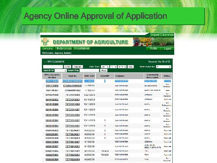 Agency Online Approval of Application