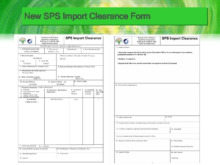 New SPS Import Clearance Form