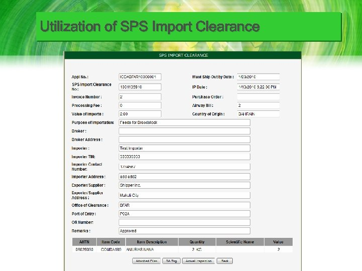 Utilization of SPS Import Clearance
