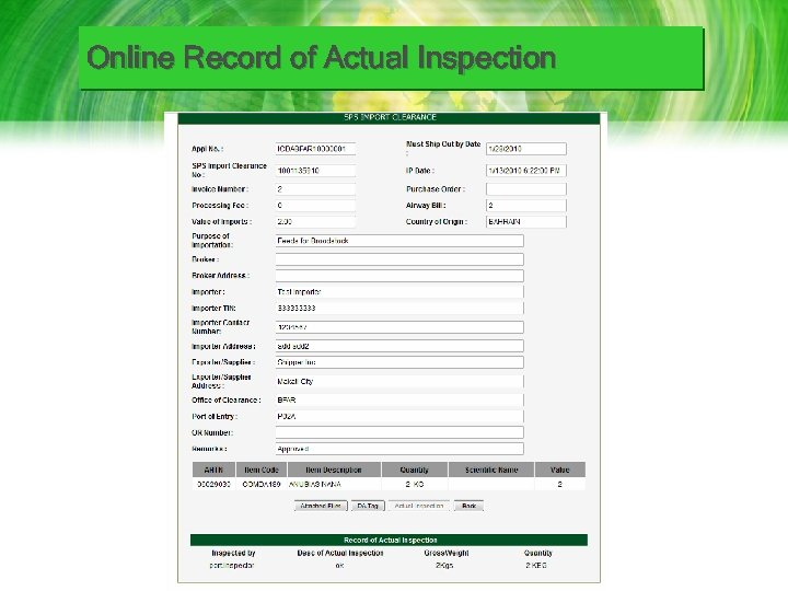Online Record of Actual Inspection