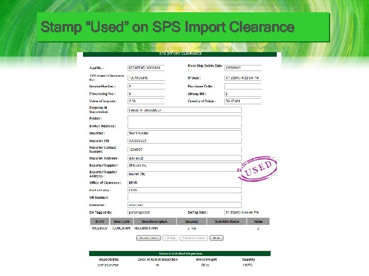 """Stamp """"Used"""" on SPS Import Clearance"""