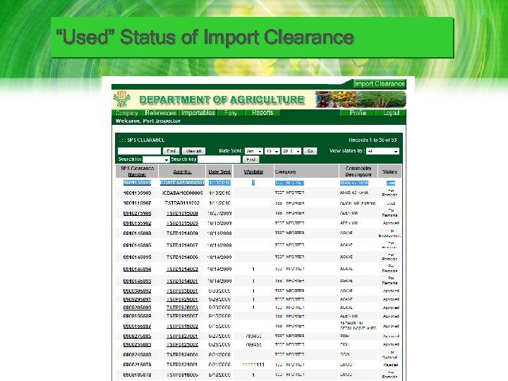 """""""Used"""" Status of Import Clearance"""