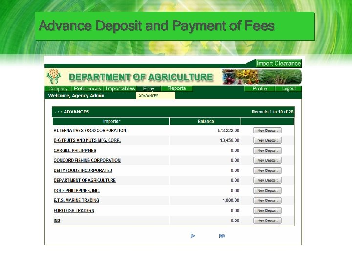 Advance Deposit and Payment of Fees