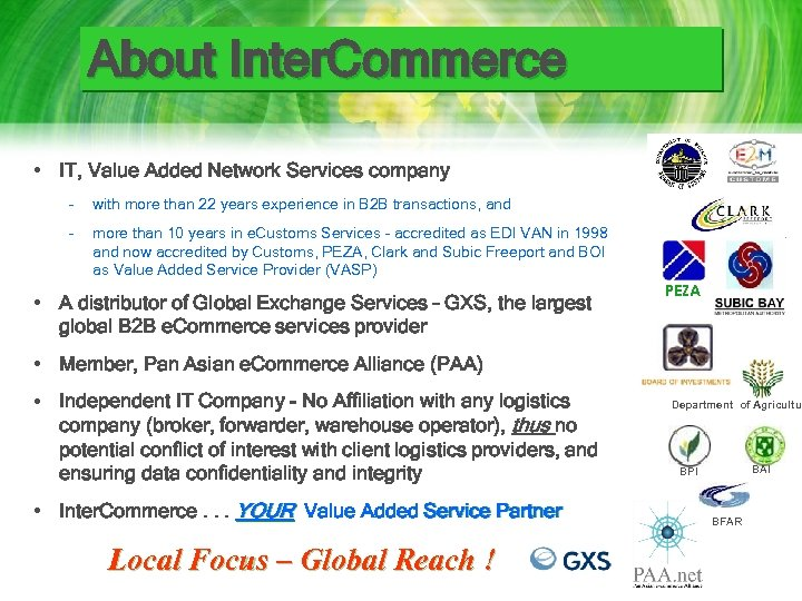About Inter. Commerce • IT, Value Added Network Services company – with more than