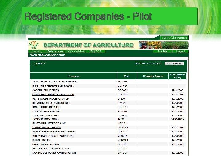 Registered Companies - Pilot