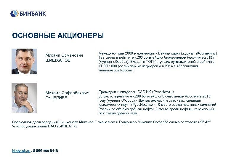 ОСНОВНЫЕ АКЦИОНЕРЫ Микаил Османович ШИШХАНОВ Менеджер года 2008 в номинации «Банкир года» (журнал «Компания»
