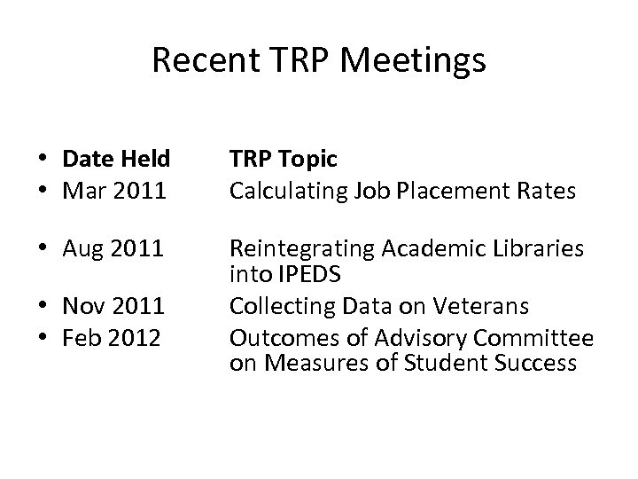 Recent TRP Meetings • Date Held • Mar 2011 TRP Topic Calculating Job Placement