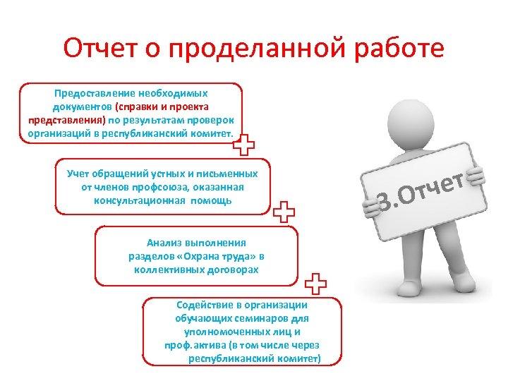 Отчет о проделанной работе Предоставление необходимых документов (справки и проекта представления) по результатам проверок