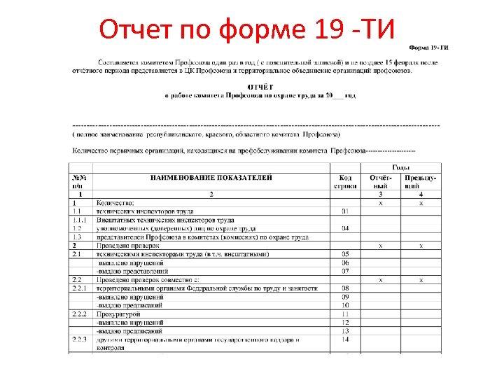 Отчет по форме 19 -ТИ