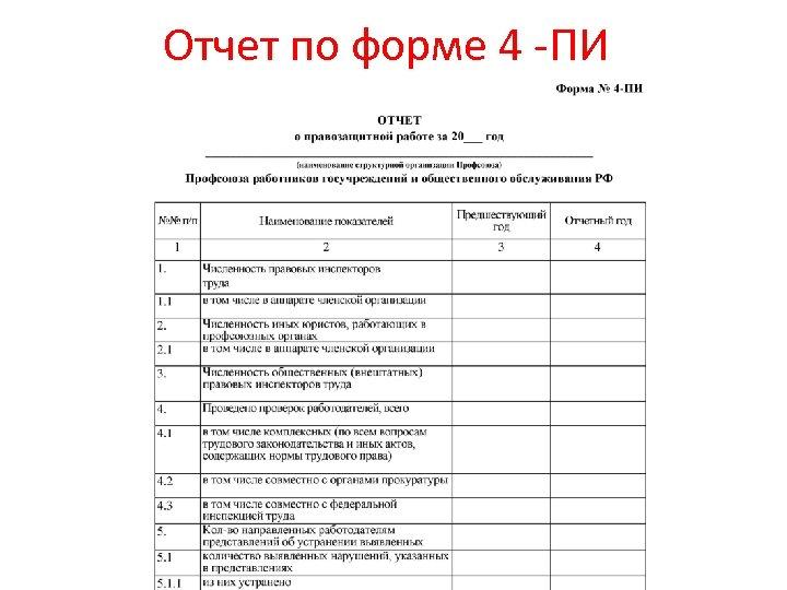 Отчет по форме 4 -ПИ
