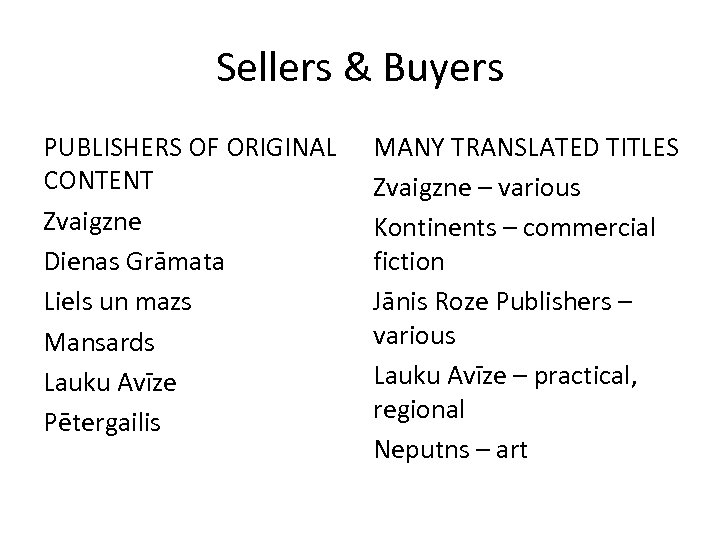 Sellers & Buyers PUBLISHERS OF ORIGINAL CONTENT Zvaigzne Dienas Grāmata Liels un mazs Mansards