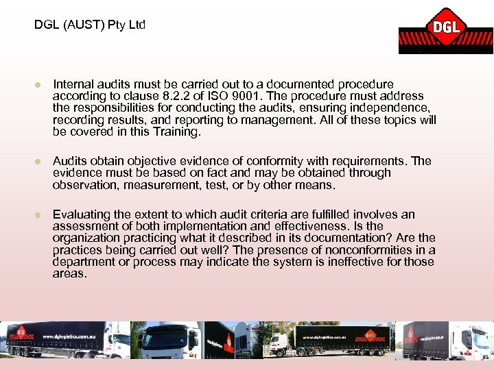 DGL (AUST) Pty Ltd l Internal audits must be carried out to a documented