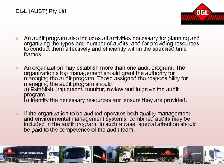 DGL (AUST) Pty Ltd l An audit program also includes all activities necessary for