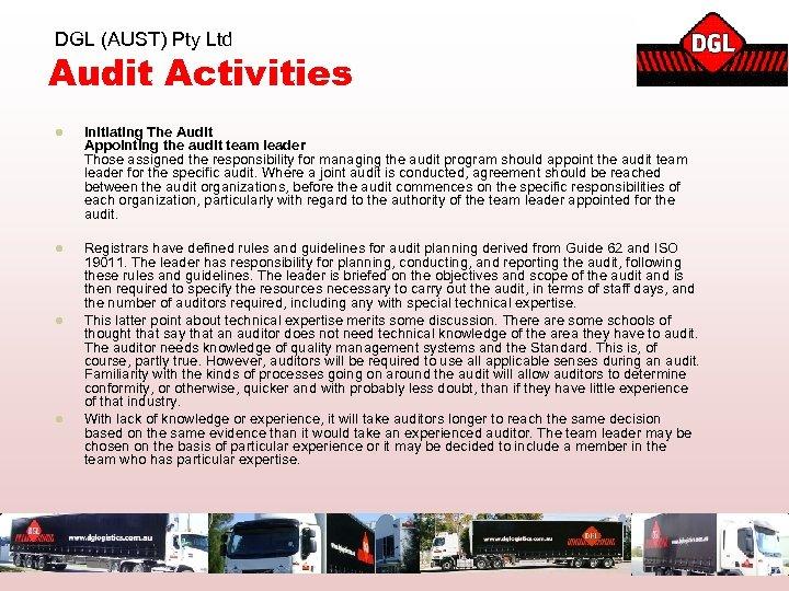 DGL (AUST) Pty Ltd Audit Activities l Initiating The Audit Appointing the audit team