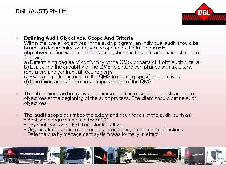 DGL (AUST) Pty Ltd l Defining Audit Objectives, Scope And Criteria Within the overall