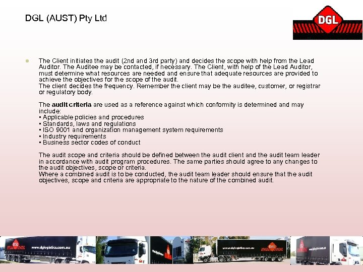 DGL (AUST) Pty Ltd l The Client initiates the audit (2 nd and 3