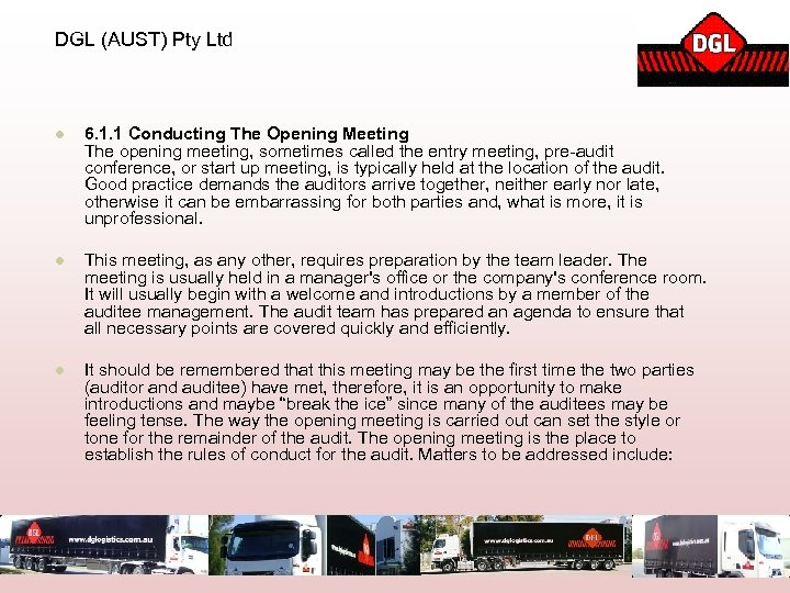 DGL (AUST) Pty Ltd l 6. 1. 1 Conducting The Opening Meeting The opening