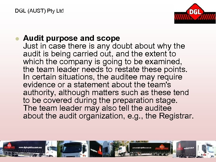 DGL (AUST) Pty Ltd l Audit purpose and scope Just in case there is