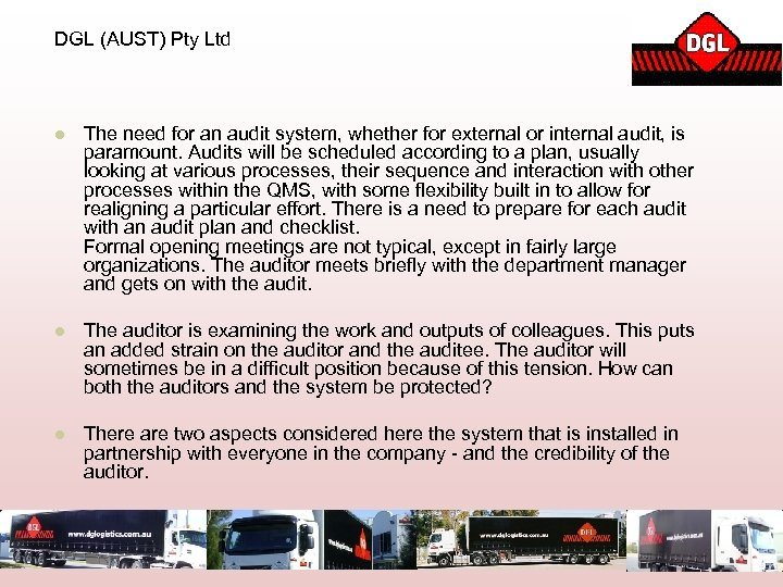 DGL (AUST) Pty Ltd l The need for an audit system, whether for external