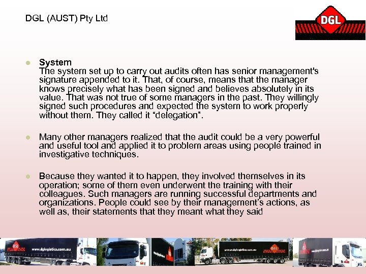 DGL (AUST) Pty Ltd l System The system set up to carry out audits