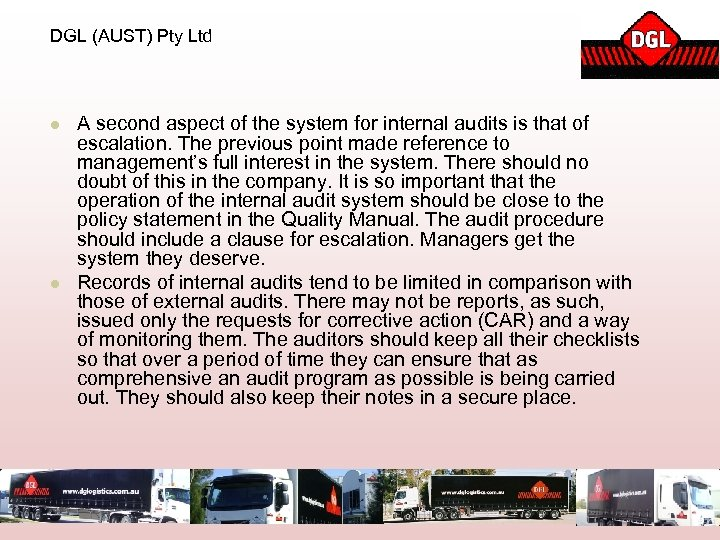 DGL (AUST) Pty Ltd l l A second aspect of the system for internal