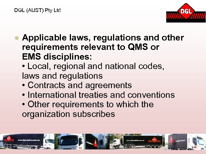 DGL (AUST) Pty Ltd l Applicable laws, regulations and other requirements relevant to QMS